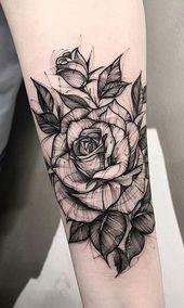 Black and White Sketch Rose Forearm Tattoo Ideas for Women – ideas del tatuaje d…