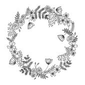 Botanical doodles: creative  and easy to draw floral wreaths… why not trying t…