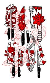 #Cut #Final #flower #illustration #Knife #red