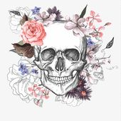 Skull with flowers, Flowers, Stick Figure, Sketch PNG Image