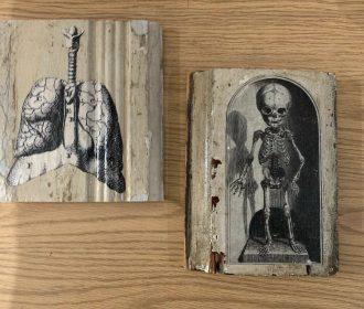 Original Victorian Artwork On Salvaged Wood ~ 2 pieces~