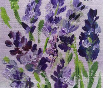 ACEO Lavender Flower Original Oil painting Art 2.5×3.5in by artist MK