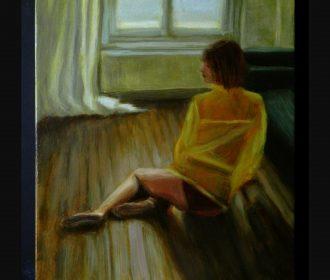 14×12″ Original Oil on Canvas Painting – Portraiture Series – Girl Portrait Nude