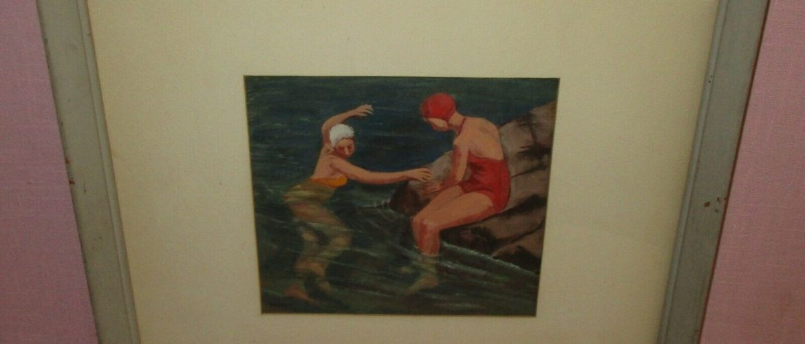 Algot Stenbery American Listed Artist Original Gouache Pastel Painting Bathers