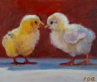Artist PDQ Original Oil Painting Canvas Farm Animal Chickens Art Artwork Realism
