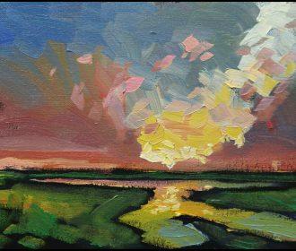 W HAWKINS Original Landscape Stream Clouds Impressionism Art Oil Painting Signed