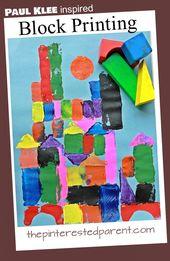Paul Klee inspired block printed paintings. Printmaking for kids. Famous artist …
