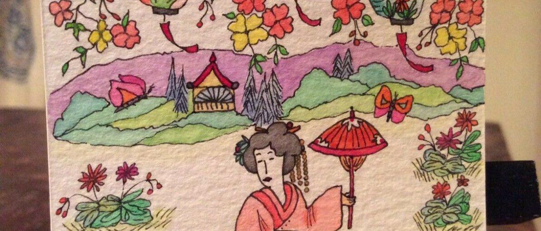 "ACEO original art watercolor/ink,Japanese geisha,""artist"",musician,poet,dancer"
