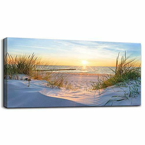 Wall Art for living room Print Artwork Wall Art Decor Poster Blue sun beach gras