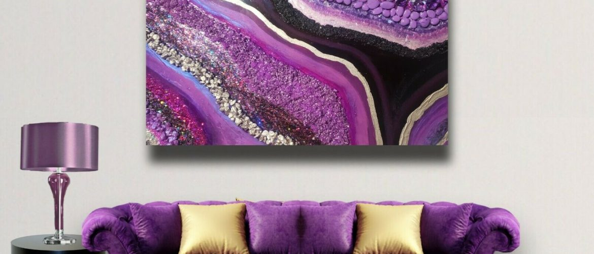 Epoxy Resin Wall Decor With Stones, Glass, Acrylic Paint and Glitter. Handmade!