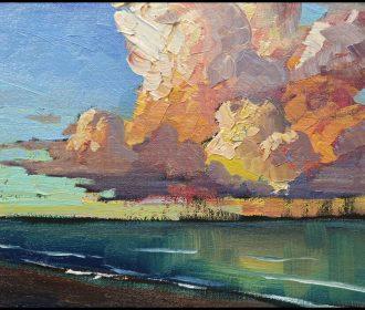 HAWKINS Thick Paint Ocean Beach Landscape Impressionism Art Painting Art  Signed