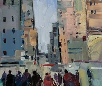 JOSE TRUJILLO Impressionism OIL PAINTING CITY BUILDINGS PEOPLE FIGURES ARTIST NR