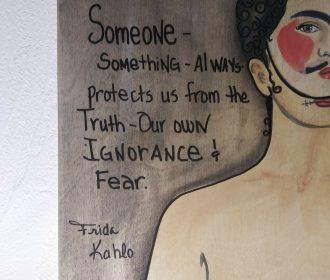 Frida Kahlo quotes wood board Orginal mix media sign by Artist Atencio