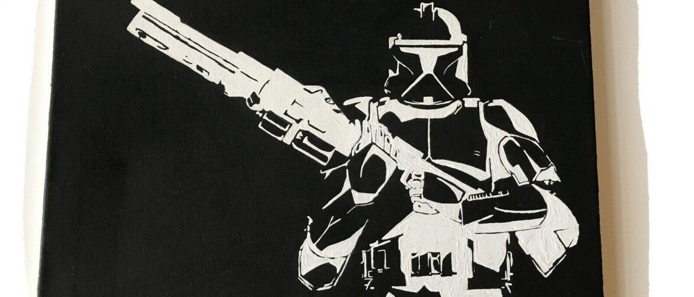Hand Painted Star Wars Acrylic on Canvas Original Artwork 16×20