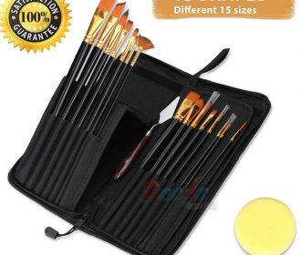 15 Artist Paint Brushes Set Acrylic Oil Watercolour Painting Craft Art Model Kit