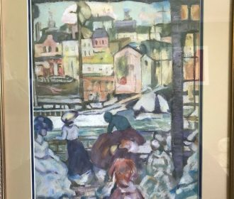 Pastel Painting  -Period scene of People and Village – Signed Jane Peterson