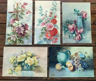 5 Antique Vintage Hand Painting Lot Signed By Artist Dated 1910 Flowers