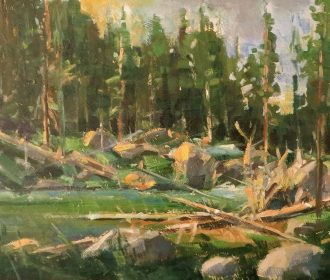 HEDGEPETH original oil painting Impressionism ( Mountain Stream) signed