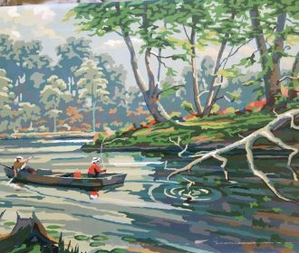 Vintage  Paint by Number Painting of  a 2 People Fishing in a Stream