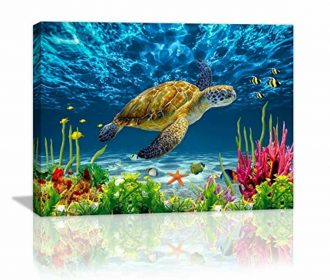 Bathroom Wall Decor Blue Ocean Sea Turtle Wall Art Poster Artwork For Home Decor