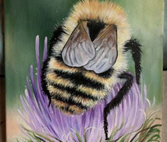 Original Fuzzy Bumble Bee Acrylic Painting, Nature Art, Insect, Signed By Artist