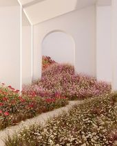 3D rendering of white structure with floral pathway by Alexis Christodoulou aka …