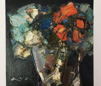 Original abstract painting oil on canvas fabric 6×6 in by artist Anastasiya Kim