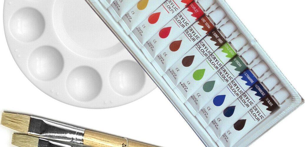 Artist 12 ACRYLIC COLOR Painting Paint Set + 6 Brush Set w/ ROUND Palette SET