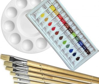 Artist 12 ACRYLIC COLOR Painting Paint Set + 6 Brush Set w/ ROUND Palette SET