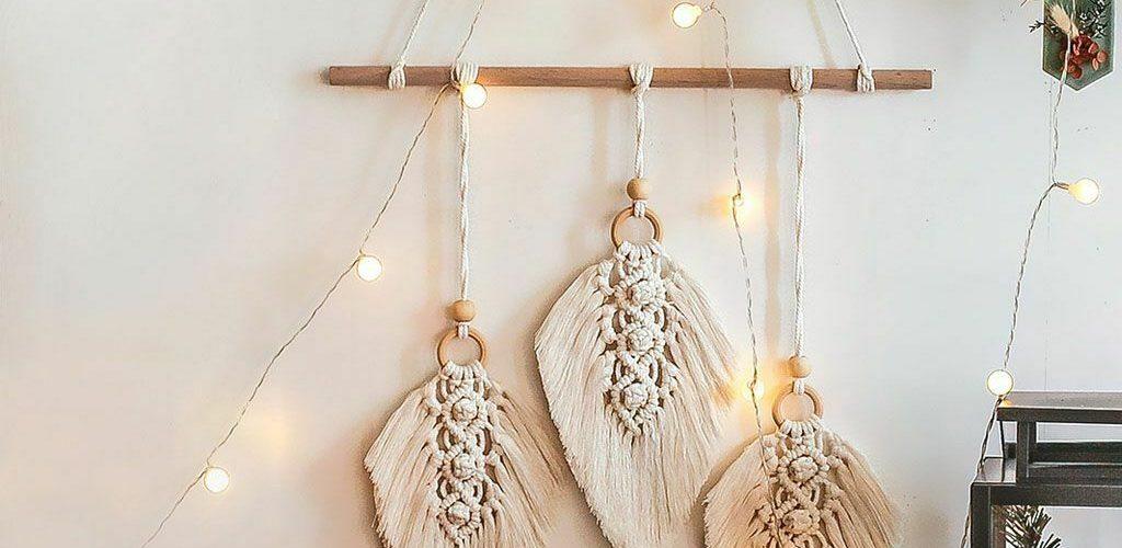 For Home Moon Macrame Woven Wall Hanging Tapestry Boho Chic Bohemian Art Decor