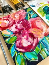 Abstract flower painting demo on YouTube. How to paint abstract flowers with acrylic paint.