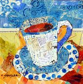 Torn Paper Collage Painting with Hand Painted Papers,Yes, Coffee 13074, Day 3, 3…