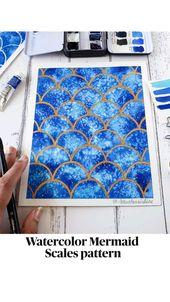 Watercolor Mermaid  Scales pattern