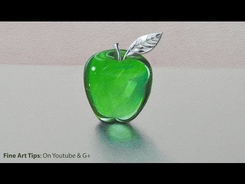 How to Draw Glass: a Crystal or Acrylic Green Apple –  Fine Art-Tips.